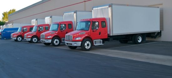 Delivery trucks at loading docks